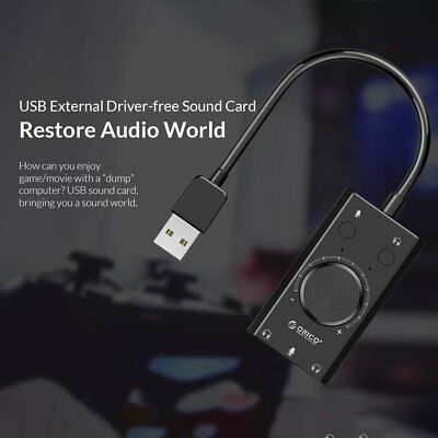 Orico USB-A Sound Card Adapter Audio 3.5mm Jack/Cable Mic for PC/MAC/HeadphonE3