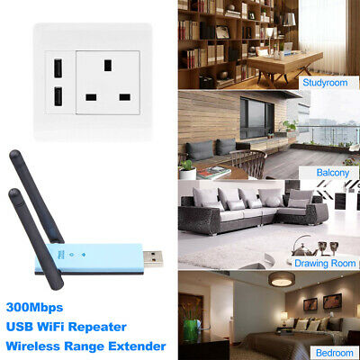 300Mbps Wireless Range Extender USB WiFi Repeater Signal Booster Amplifier Z1X9