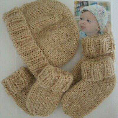 New Baby Gift Set: Hat, Mittens and Socks/Booties Boy/Girl 3 Months FUDGE