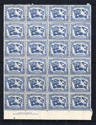 1946 3 1/2d PEACE MINT UNHINGED BLOCK 24 WITH IMPRINT SEE DESC (A14)
