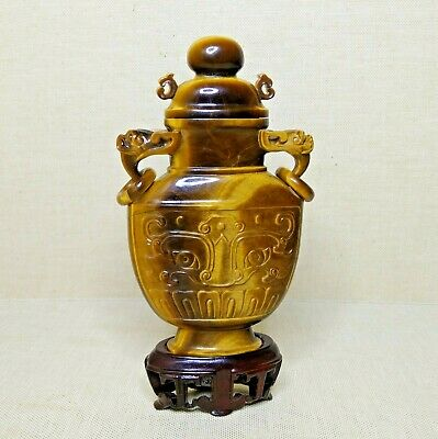 Vintage Chinese censer, made from stone eye of the tiger. 20th century.