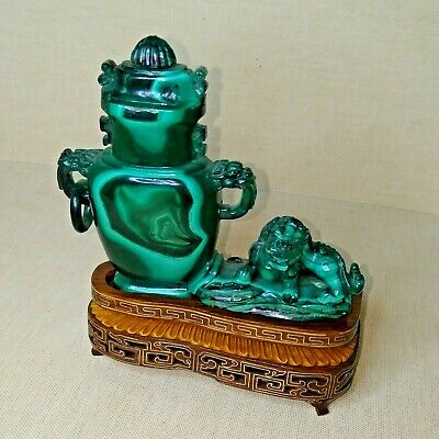 Vintage Chinese censer, made from malachite. 20th century.
