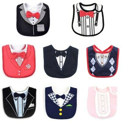 Baby Boy Cotton Waterproof Bib Tuxedo Formal Bow Tie Gentleman Feeding Hot Sale