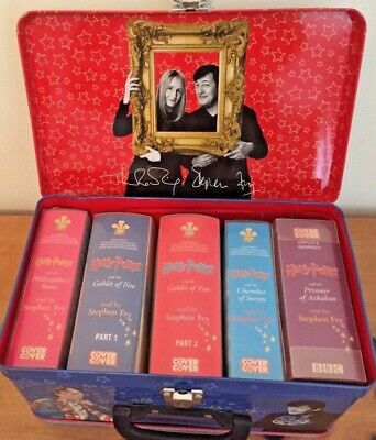 HARRY POTTER Audio Book Tape Set Stephen Fry Collectable Storage Tin with Keys