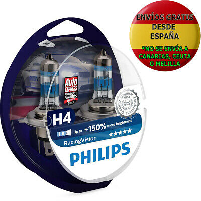 2 Bombillas Philips Racing Vision H4 150% RacingVision Xtreme Extreme Coche Moto