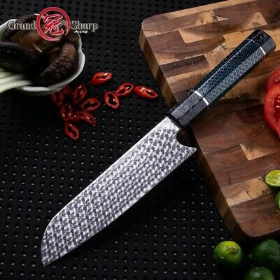 Handmade Damascus Chef Knife 110 layers Damascus Steel Kitchen Tools Santoku PRO