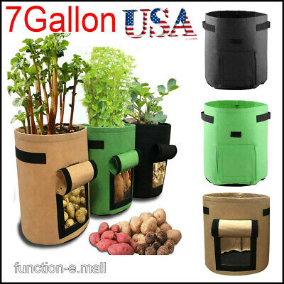 1-5Pcs 7Gallon Grow Bags Fabric Pots Root Pouch with Handles Planting Container