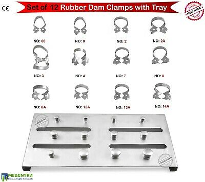 Dental Rubber Dam Clamps Endodontics Tooth Restorative Clamp Set 12Pcs + Plate