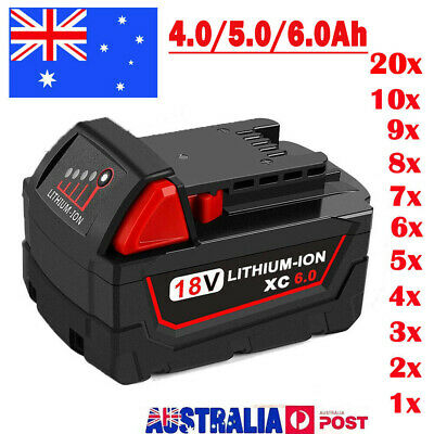 18V Battery for Milwaukee XC 6.0Ah Lithium M18B 48-11-1850 48-11-1828 48-11-1840