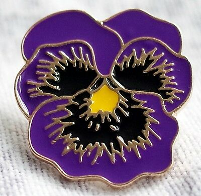 Purple Flower Poppy Day Pin Badge LEST WE FORGET ANIMALS IN WAR - RSPCA CHARITY