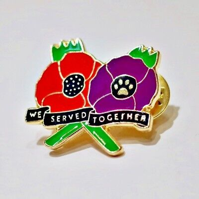 NEW RED & PURPLE POPPY LAPEL PIN BADGE WE SERVED TOGETHER for ANIMALS IN WAR