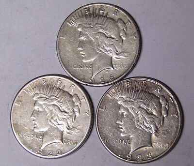 Lot of 3 Peace Silver Dollars 1922-S 1923-S 1926-S Circulated San Francisco Mint