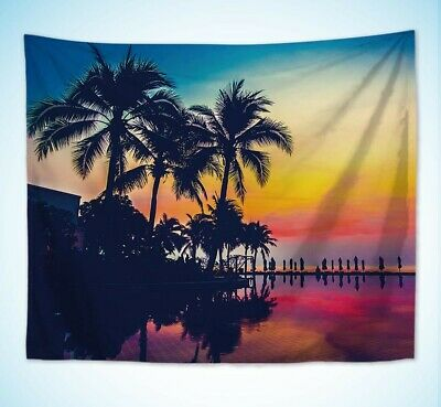 US Seller- beach towel coconut palm tree sunset resort wall hanging tapestry