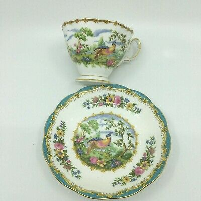 Royal Albert Chelsea Bird Blue Footed Teacup & Saucer Great shape!!