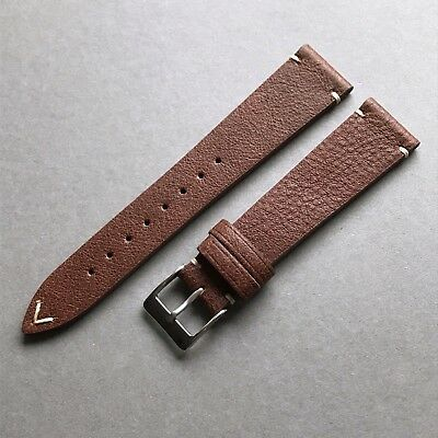 20mm Vintage Style Distressed Brown Handmade Italian Leather Watch Strap Band
