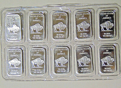SEALED Sheet of 10 Indian Buffalo 1 oz .999 Fine Silver Bars In God We Trust