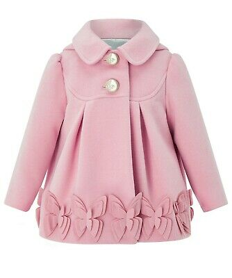 Monsoon Girls Pink Baby Bea Butterfly Winter Flare Frill Coat Jacket 1 To 3 YRS
