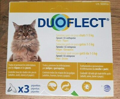 DUOFLECT Chat 1-5 Kg 3 pipettes puces & tiques