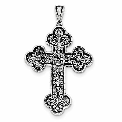 925 Sterling Silver Antique Finish Large Filigree Budded Cross Pendant