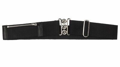 NEW John Lewis Girls Stretch Purse Belt with Zip Pocket Fastener. Black.