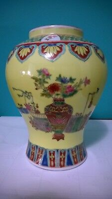 Antique/Old Vintage Oriental  Colorful Ceramic Vase Hand Painted  Marked 10 1/4""