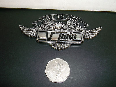 Highway Hawk Live To Ride V/twin Emblem Self Adhesive 110Mm Wide Bc188 - T