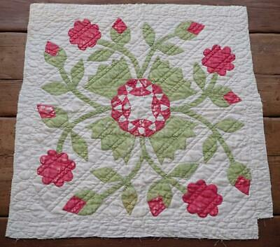 Antique Red & Green Applique Whig Rose Cutter Quilt Piece 24x23