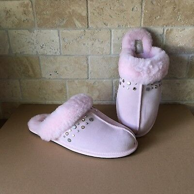 6cea3ac5b72e Ugg Scuffette Ii Studded Bling Seashell Pink Suede Fur Slippers Size 12  Womens
