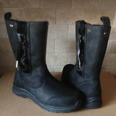 b2833c65a12 UGG SUVI WATERPROOF Black Leather Fur Winter Snow Boots Size US 12 ...