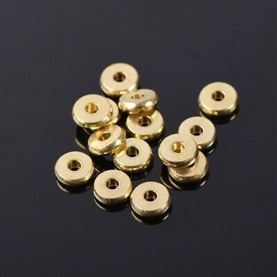 50PCS 7mm Gold Plated Metal Round Loose Spacer Beads DIY Jewelry Findings Making