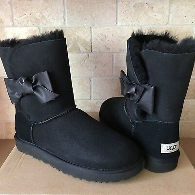 AUTHENTIC UGG CLASSIC Bailey Bow Boots, 3 Bows, Black, Size