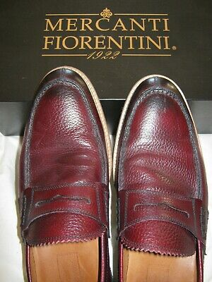 e37dd27883e8 Mercanti Fiorentini Mens Brown Leather Penny Loafers Shoes Made In Italy US  10 M