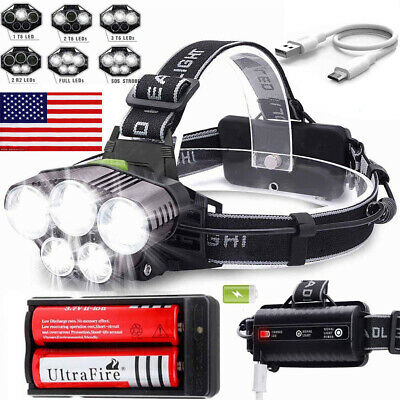 150000LM 5X T6 LED Headlamp Rechargeable Head Light Torch Flashlight Lamp USA