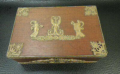 Antique French Napoleon III Empire Gilt Bronze Ormolu Wood Jewelry