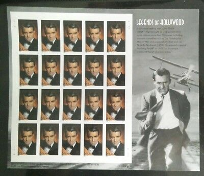 Cary Grant Stamp Sheet -- Usa, 37 Cent 2004 Legends Of Hollywood Mnh