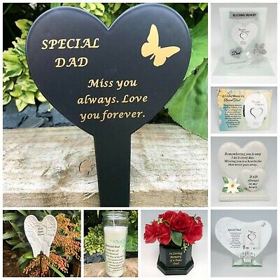 Dad Fathers Day Memorial Plaque Frame Stake Flower Vase Grave Candle Remembrance