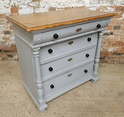 Fabulous Grey Painted Pine Chest Of Drawers, French, Continental, Victorian