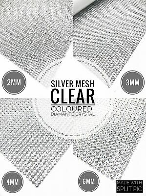 Silver Iron on Clear Diamante Strips Crystal Mesh for Wedding Clothing Decor