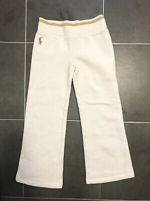 Ralph Lauren Girls White Gold Jogging Bottoms Trousers - Age 6