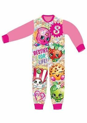 Girls my Shopkins Kids All in One Girls Fleece  Character  Pyjamas Sleepsuit