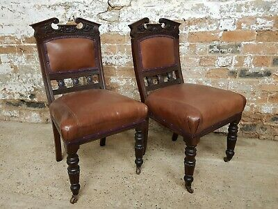 Pair Of Victorian Brown Leather Upholstered Chairs