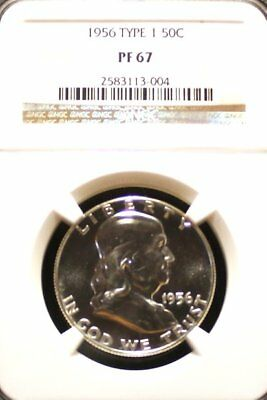 1956 Type 1 Franklin Silver Half Dollar Graded PF 67 by NGC