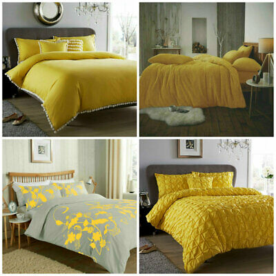 Ochre Duvet Cover Yellow Mustard Grey Printed / Luxury Quilt Set Bedding Sets