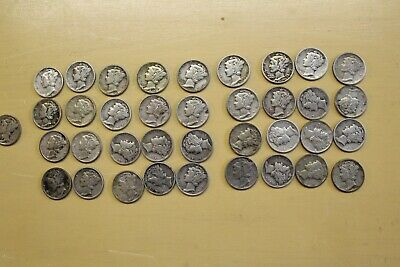 1936-1945 US MERCURY HEAD DIME COLLECTION 37 Silver Dimes