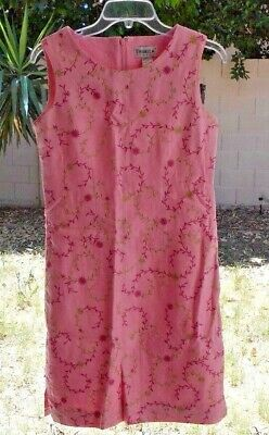 Size 4 Pink Linen Floral Embroidery Lined Sleeveless Ladies Dress Tribeca