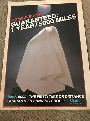 Vintage 1984 VANS 5000 RUNNING SHOES Poster Print Ad 1980s  1ST EVER  RARE 155fe4a80