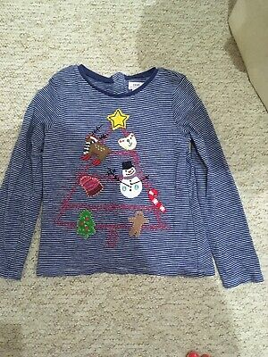 NEXT Girls Blue Striped Xmas Top Age 4-5 Years