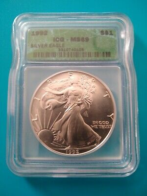 1992 $1 American Silver Eagle Icg Ms69 Green Label