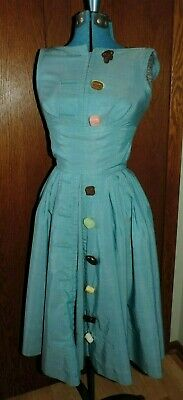 7e2ddeb28568 Rare Vintage 1950 s Vicky Vaughn Turquoise Dress With Candy Shaped Buttons