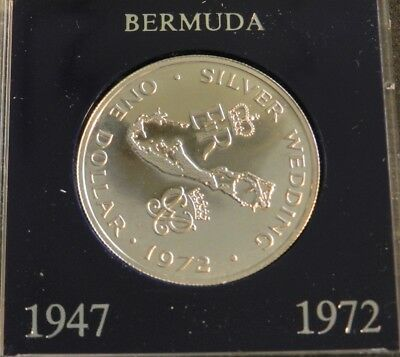 1972 Bermuda Silver $1 Coin Commemorating Silver Wedding Anniversary - Stunning